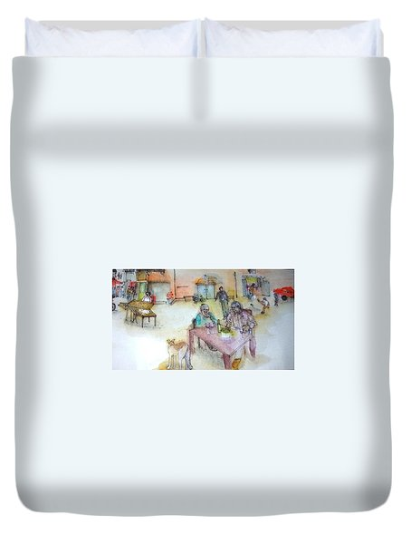 Italy Love Scroll Duvet Cover
