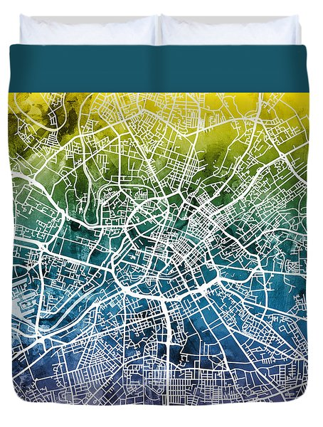 Manchester England Street Map Duvet Cover
