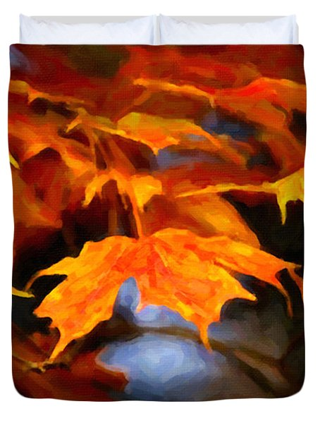 Maple Leaves Duvet Cover by Andre Faubert