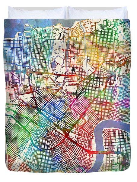 New Orleans Street Map Duvet Cover