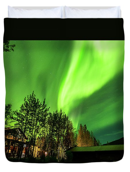 Northern Lights, Aurora Borealis At Kantishna Lodge In Denali National Park Duvet Cover by Brenda Jacobs