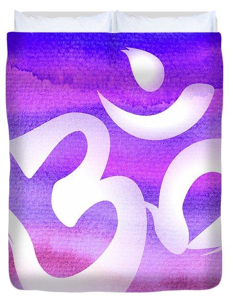 Om Symbol. Light Purple Pastels Duvet Cover
