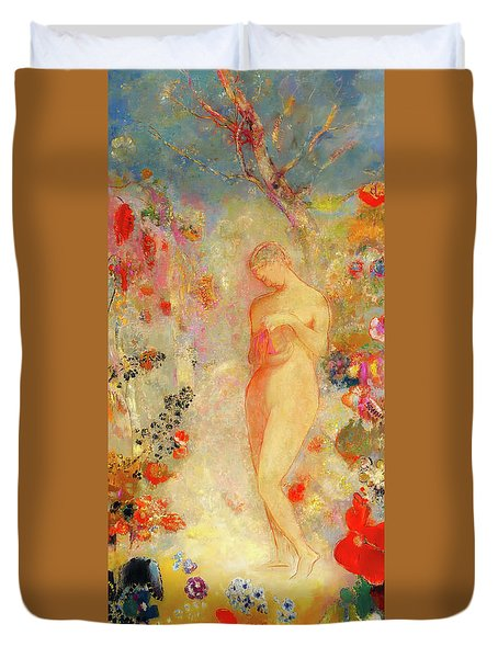 Duvet Cover featuring the painting Pandora by Odilon Redon