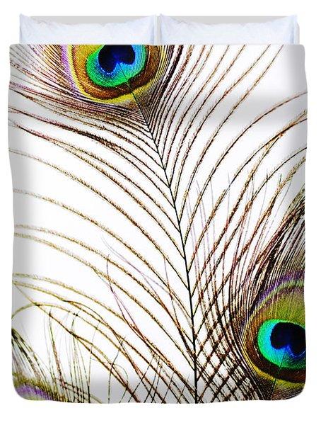 Peacock Feathers Duvet Cover by Mary Van de Ven - Printscapes