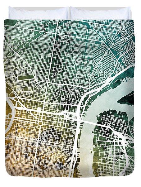 Philadelphia Pennsylvania Street Map Duvet Cover