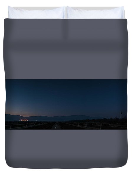 5 Planet Alignment Panorama Duvet Cover