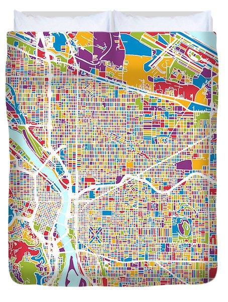 Portland Oregon City Map Duvet Cover