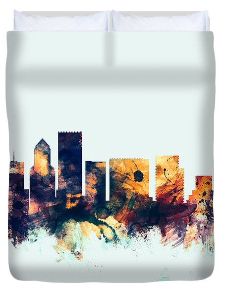 Portland Oregon Skyline Duvet Cover