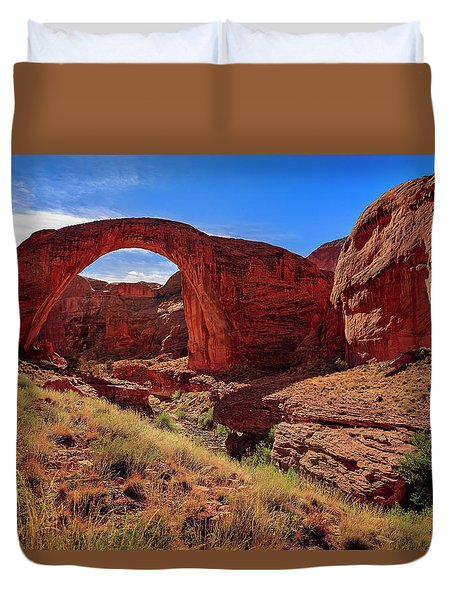Duvet Cover featuring the photograph Rainbow Bridge Monument by Peter Lakomy