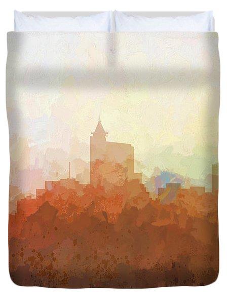 Duvet Cover featuring the digital art Raleigh North Carolina Skyline by Marlene Watson
