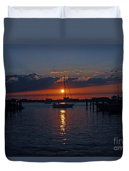 Duvet Cover featuring the photograph 5- Sailfish Marina Sunset In Paradise by Joseph Keane