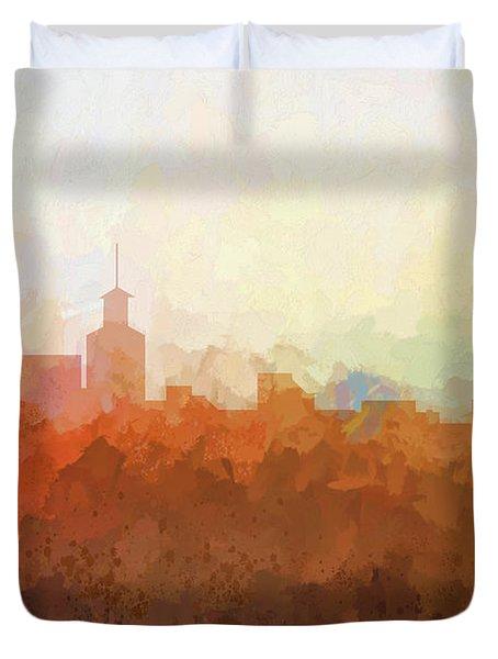 Duvet Cover featuring the digital art Santa Fe New Mexico Skyline by Marlene Watson