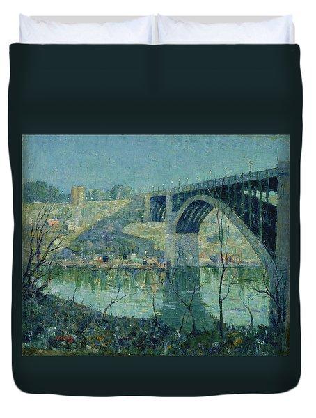 Spring Night, Harlem River Duvet Cover