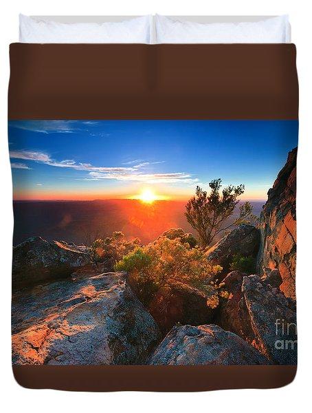St Mary Peak Sunrise Duvet Cover by Bill  Robinson