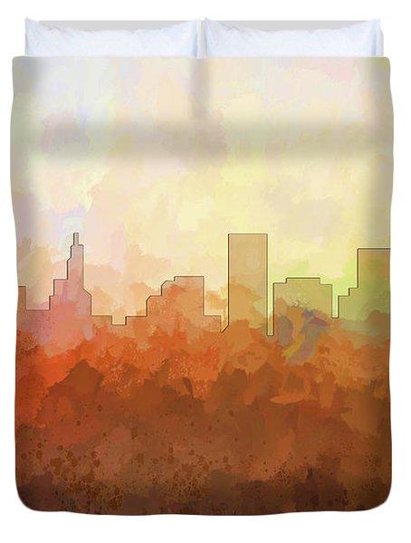 Duvet Cover featuring the digital art St Paul Minnesota Skyline by Marlene Watson
