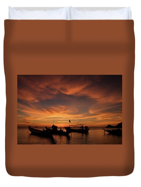 Sunrise On Koh Tao Island In Thailand Duvet Cover by Tamara Sushko
