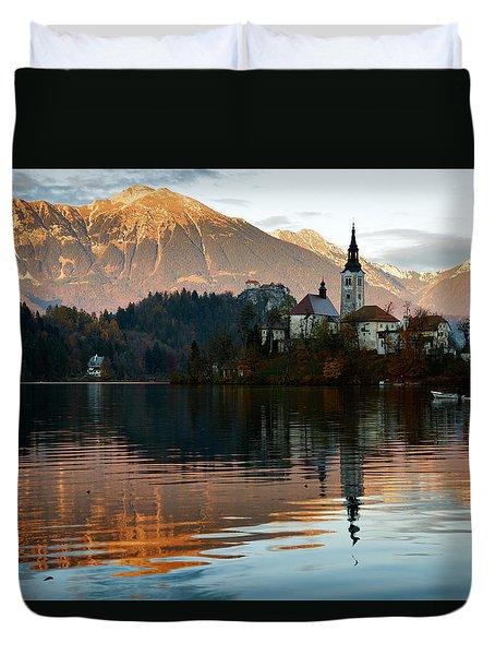 Sunset Over Lake Bled Duvet Cover