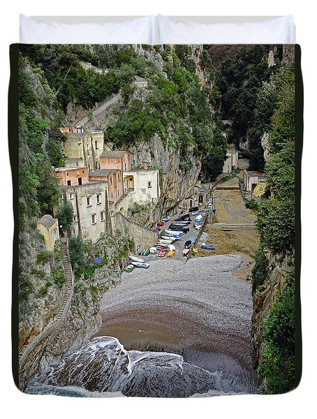 This Is A View Of Furore A Small Village Located On The Amalfi Coast In Italy  Duvet Cover