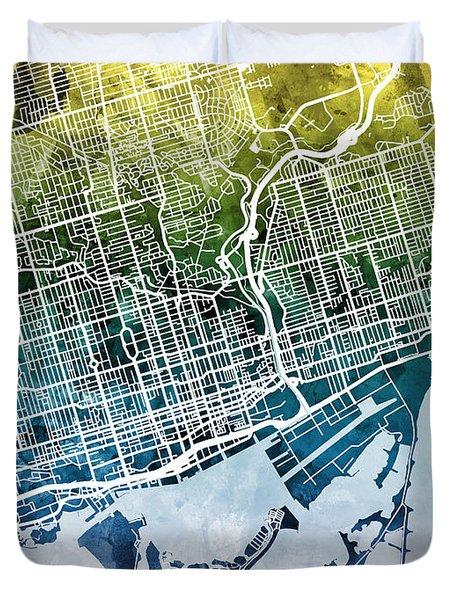 Toronto Street Map Duvet Cover