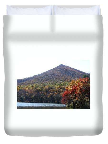 View Of Abbott Lake And Sharp Top In Autumn Duvet Cover