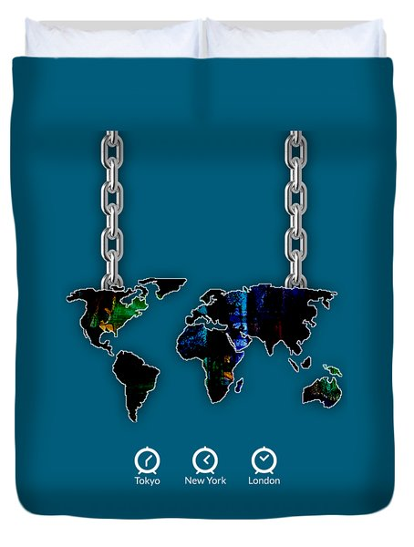 World Map Collection Duvet Cover
