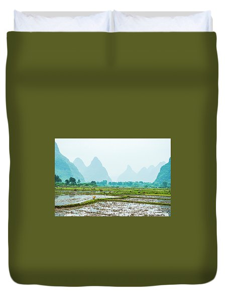 Duvet Cover featuring the photograph Karst Rural Scenery In Spring by Carl Ning