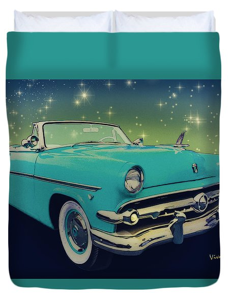 54 Ford Sunliner Date Night Saturday Night Duvet Cover