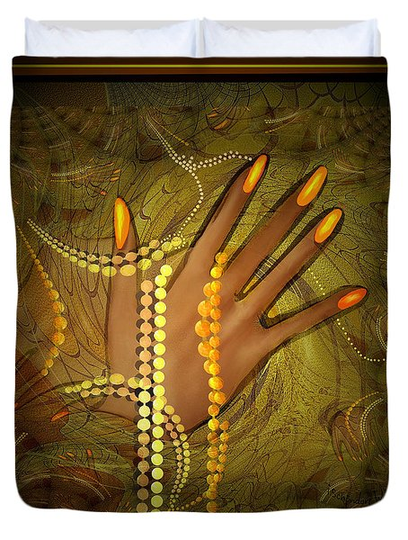 544 -  Gold Fingers  2017 Duvet Cover by Irmgard Schoendorf Welch