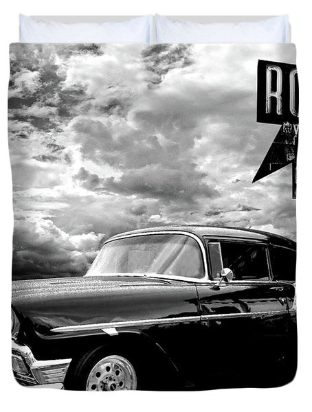56 Chevy Belair In Black And White Duvet Cover