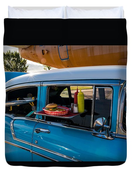 Duvet Cover featuring the photograph 56 Chevy by Jay Stockhaus