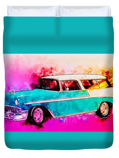 56 Chevy Nomad By The Sea In The Morning With Vivachas Duvet Cover