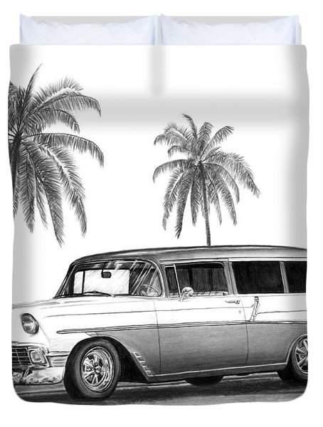 56 Chevy Wagon Duvet Cover