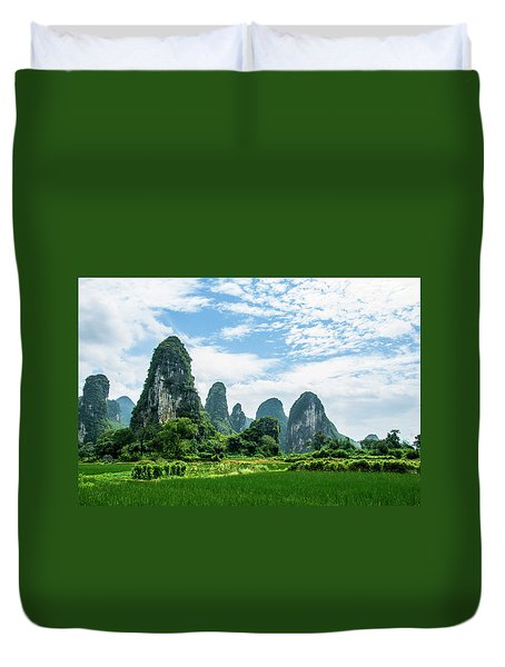 Duvet Cover featuring the photograph Karst Mountains And  Rural Scenery by Carl Ning