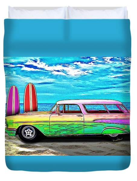 57 Chevy Nomad Wagon Best Part Of Waking Up Duvet Cover