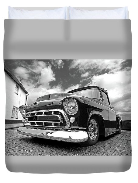 57 Stepside Chevy In Black And White Duvet Cover
