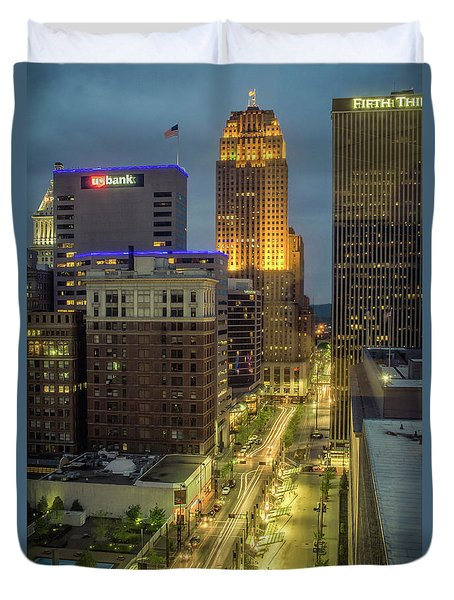 5th Street Cincinnati Duvet Cover by Scott Meyer