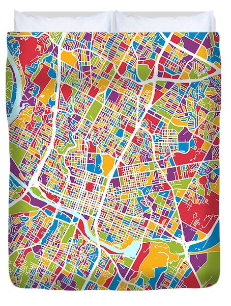 Austin Texas City Map Duvet Cover