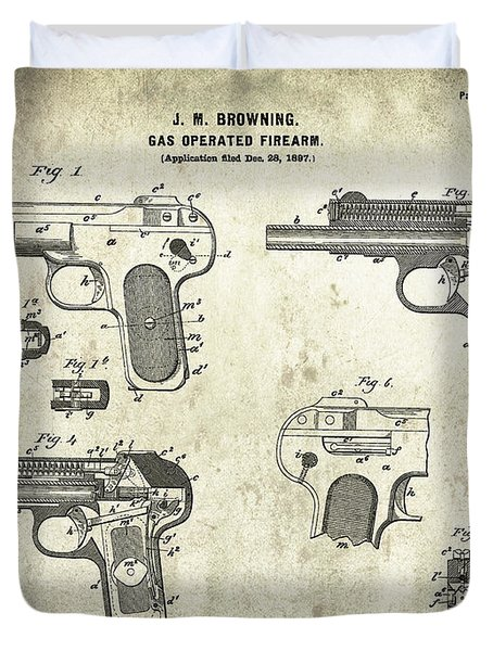 Automatic Pistol Operated By Gas - Patent Drawing For The 1899 Gas Operated Firearm By J. Browning Duvet Cover