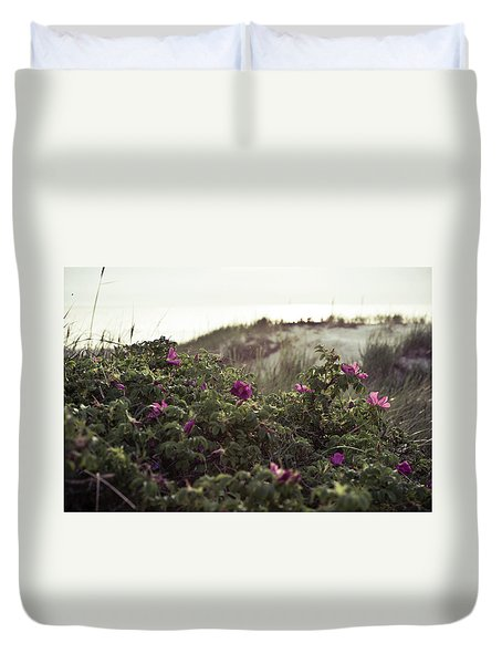 Rose Bush And Dunes Duvet Cover