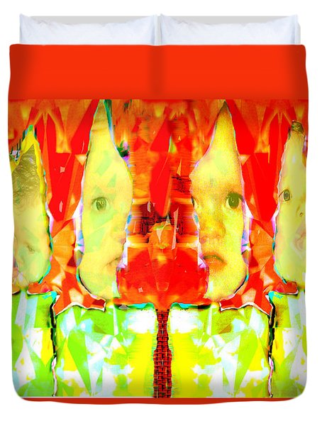Duvet Cover featuring the digital art 6 Candles Of Christmas by Seth Weaver