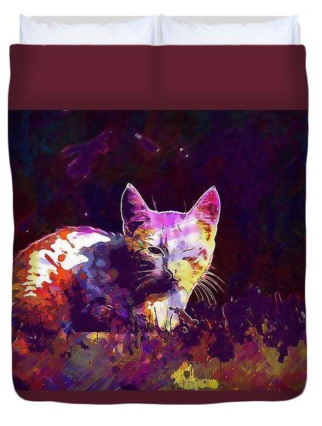 Duvet Cover featuring the digital art Cat Eye Injury One Eye Village  by PixBreak Art