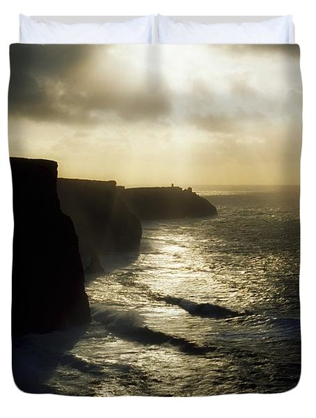 Cliffs Of Moher, Co Clare, Ireland Duvet Cover by The Irish Image Collection