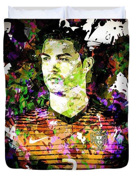 Duvet Cover featuring the mixed media Cristiano Ronaldo by Svelby Art
