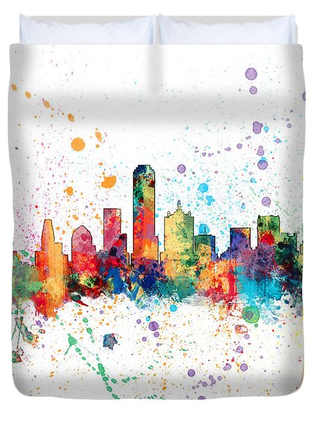 Dallas Texas Skyline Duvet Cover