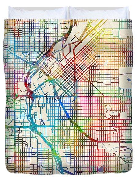 Denver Colorado Street Map Duvet Cover