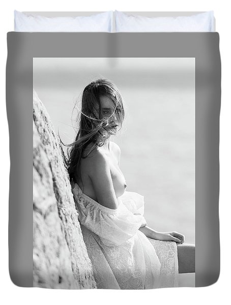 Girl In White Dress Duvet Cover