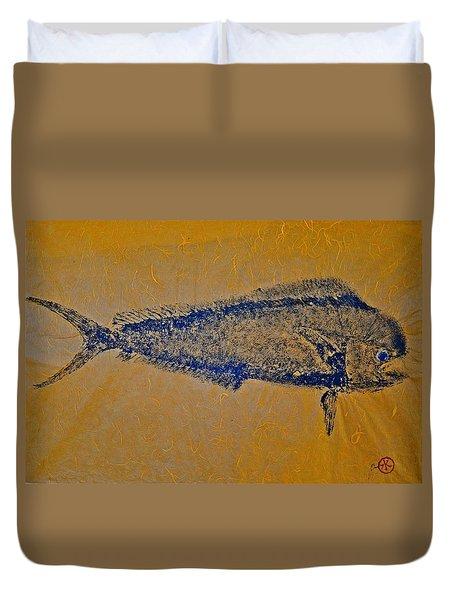 Gyotaku - Mahi Mahi - Dorado - Dolphinfish Duvet Cover