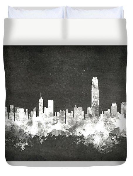 Hong Kong Skyline Duvet Cover by Michael Tompsett
