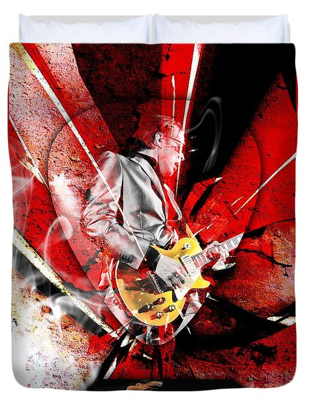 Joe Bonamassa Blues Guitarist Art. Duvet Cover by Marvin Blaine