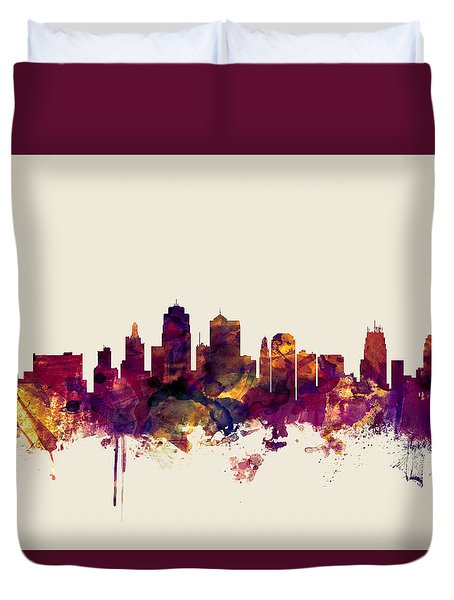 Kansas City Skyline Duvet Cover